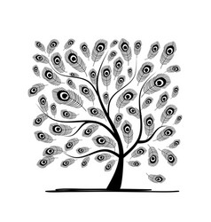art tree with peacock feather for your design vector image vector image
