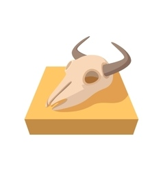 Buffalo skull cartoon icon vector image