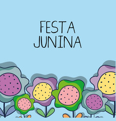colorful flower to celebrate the festa junina vector image