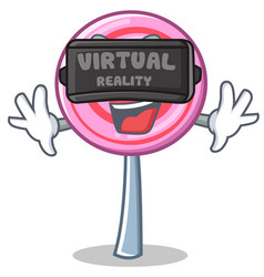 with virtual reality cute lollipop character vector image vector image