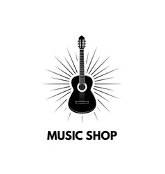 guitar icon musical instrument music shop vector image