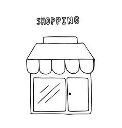 hand drawn shop shopping concept vector image