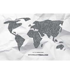 Hand Drawn World Map on Crumpled Paper Background vector image