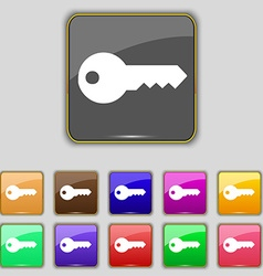 key icon sign Set with eleven colored buttons for vector image
