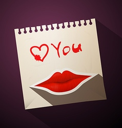 Love You Title with Heart and Mouth on Paper vector image vector image