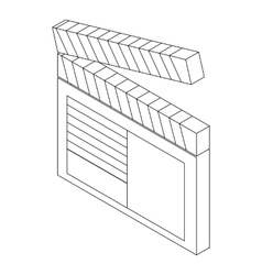 Open clapperboard icon isometric 3d style vector image