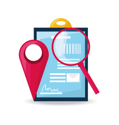 Ubication and search symbol with delivery forecast vector