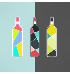 wine bottle logo set in modern low poly vector image vector image