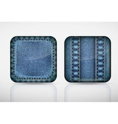 Denim application icons texture jeans vector image