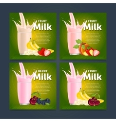 Fruit mix sweet milkshake dessert cocktail vector