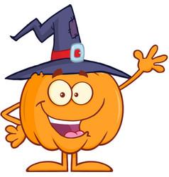 funny witch pumpkin cartoon character waving vector image vector image
