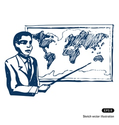 Man with world map vector image
