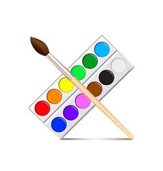 Watercolor paint palette isolated on white vector image vector image