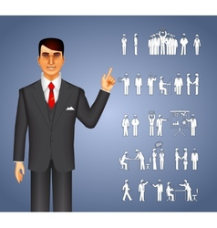 Businessman and peoples icons vector image vector image