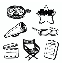 Cinema doodles icons vector image vector image