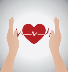 Hands Holding Heart of Heartbeat vector image