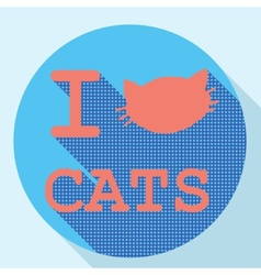I love cats flat retro vintage icon vector image