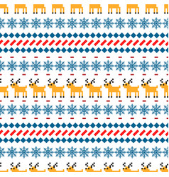 Nordic sweater seamless pattern with deer vector