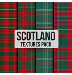 Set of tartan fabric texture pattern seamless vector image
