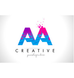 Aa a letter logo with shattered broken blue pink vector