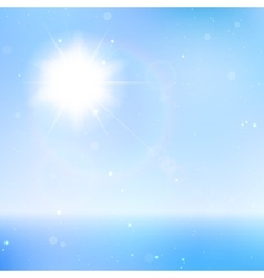 Abstract beautiful sea and sky background with sun vector image