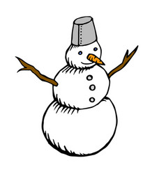abstract snow man grunge doodle drawing vector image