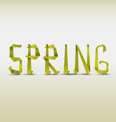 Abstract spring background with folded letters vector image
