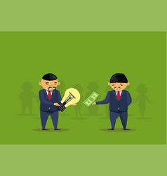 asian busienss man buy idea for money light bulb vector image