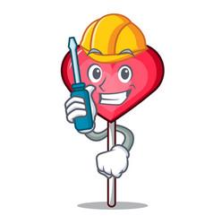Automotive heart lollipop mascot cartoon vector