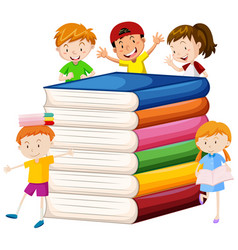 Big books and happy children vector
