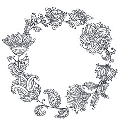Black and white henna floral wreath vector