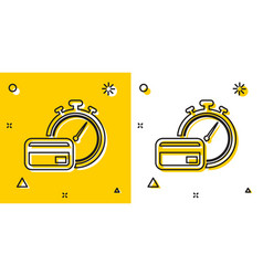 Black fast payments icon on yellow and white vector