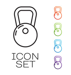 Black line kettlebell icon isolated on white vector