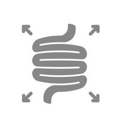 Bloated intestines grey icon diseases internal vector