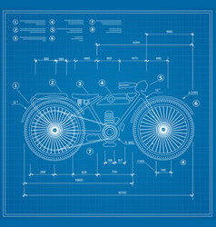 Blueprint plan outline draft motorbike motorcycle vector