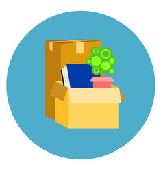 Box with office stuff icon on blue round vector