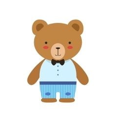 Brown bear in bow tie blue pants and white top vector