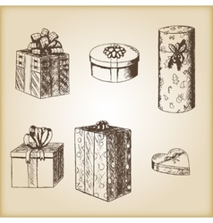 Brown vintage sketch - hand drawn gift boxes vector image vector image
