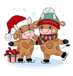 Bulls 2021 ice skating merry christmas vector