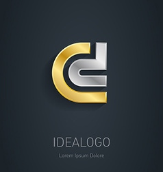 C and D initial silver and gold logo Metallic 3d vector image