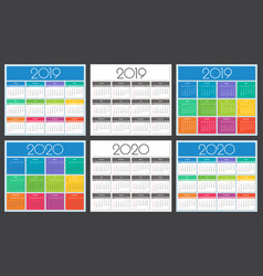 calendar 2019 and 2020 year vector image