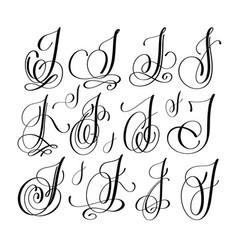 calligraphy lettering script font j set han vector image