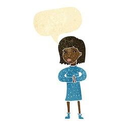 Cartoon calm woman with speech bubble vector