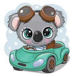 Cartoon koala boy in glasses goes on a green car vector