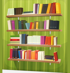 Cartoon library bookshelf on the wall vector