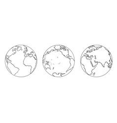Cartoon of three views of planet earth globe vector