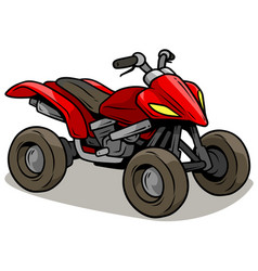 Cartoon red modern offroad quad motorbike vector