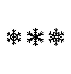 christmas snowflakes set black color on white vector image