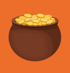 Coins pot of gold icon image vector