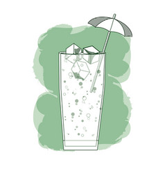 cold and delicious cocktail vector image